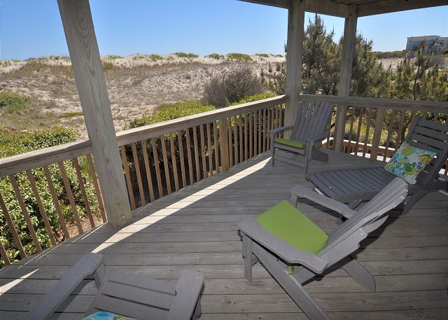 Covered Porch Mid Level of Time To Coast, a 6 bedroom, 4.5 bathroom vacation rental in Corolla, NC