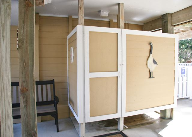Outdoor Shower of Shore Sounds Good!, a 5 bedroom, 4.5 bathroom vacation rental in Corolla, NC