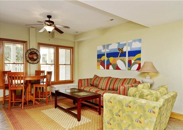 Family Room Ground Level Thanks Dad is a 6 bedroom, 5.5 bathroom vacation rental in Corolla, NC