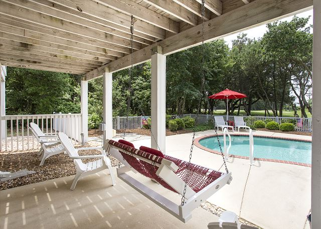 Pool Patio  of Ray's the Roof, a 5 bedroom, 5.5 bathroom vacation rental in Corolla, NC