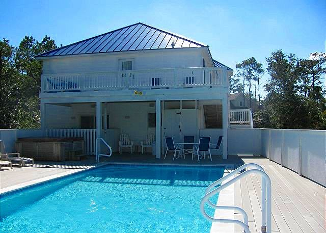 Pool Deck of Bono Fide Blessing, a 5 bedroom, 4.5 bathroom vacation rental in Corolla, NC