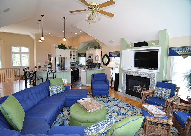 Great Room Top Level of Tranquility Farms, a 7 bedroom, 5.5 bathroom vacation rental in Corolla, NC