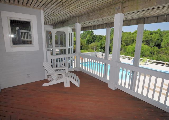 Deck Mid Level of Tranquility Farms, a 7 bedroom, 5.5 bathroom vacation rental in Corolla, NC