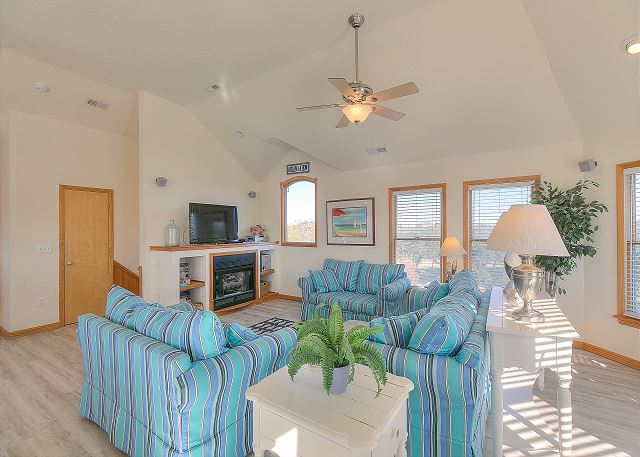 Great Room Top Level of Sea the Green, a 7 bedroom, 5.5 bathroom vacation rental in Corolla, NC