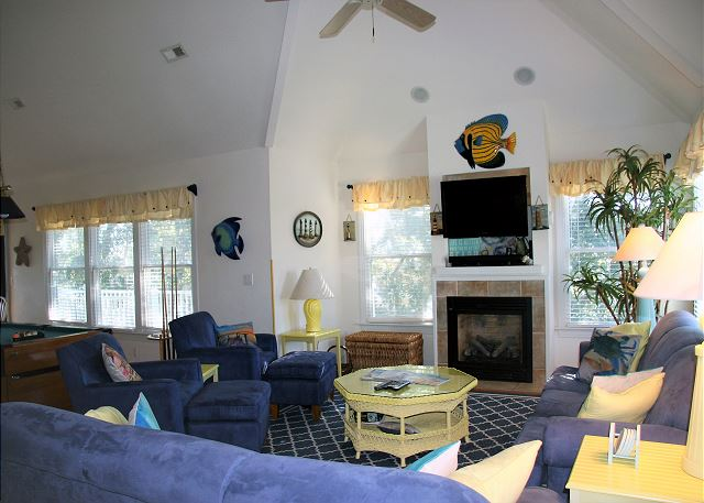 Great Room Top Level of Paradise Cay, a 5 bedroom, 3.5 bathroom vacation rental in Corolla, NC