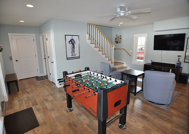 Game Room Ground Level of Forever 409, a 6 bedroom, 5.5 bathroom vacation rental in Corolla, NC