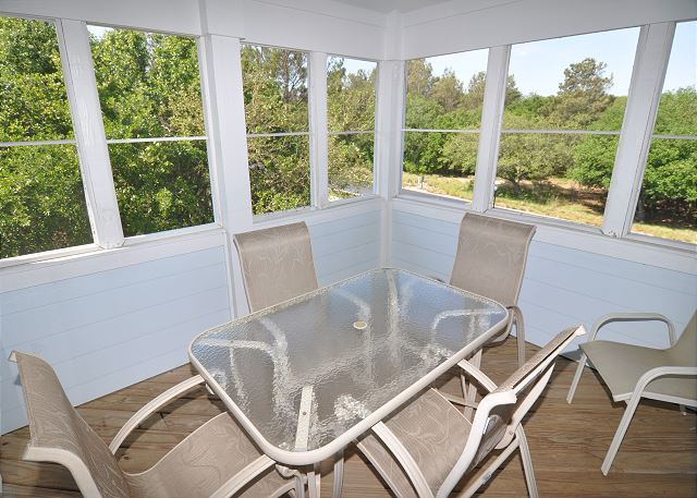 Screened In Porch Top Level of As Time Goes By, a 5 bedroom, 4.5 bathroom vacation rental in Corolla, NC