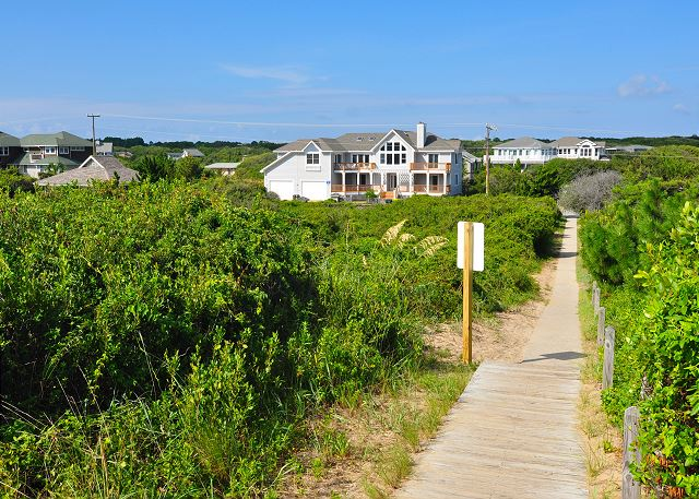 View to house from beach Silver Creek is a 5 bedroom, 4.5 bathroom vacation rental in Southern Shores, NC
