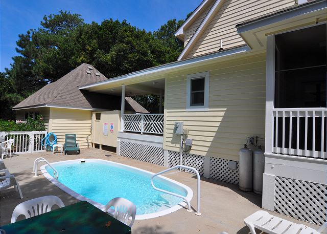 Pool patio of FOREplay @5, a 4 bedroom, 3.5 bathroom vacation rental in Corolla, NC