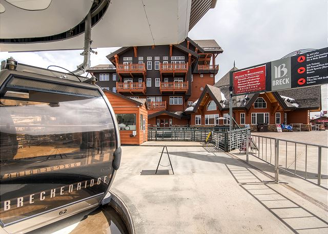 outside One Ski Hill Place; ride the gondola into town to shop or dine!