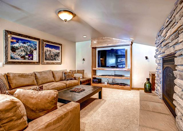 Den located on the upper level with flat screen TV and gas fireplace - foosball too!