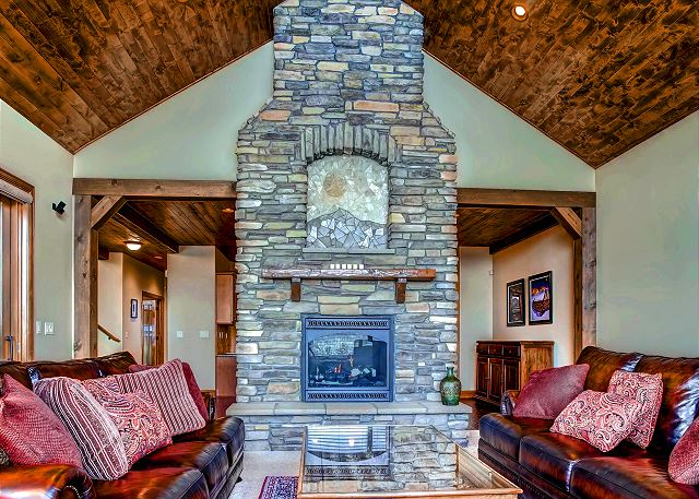 Large two sided rock fireplace