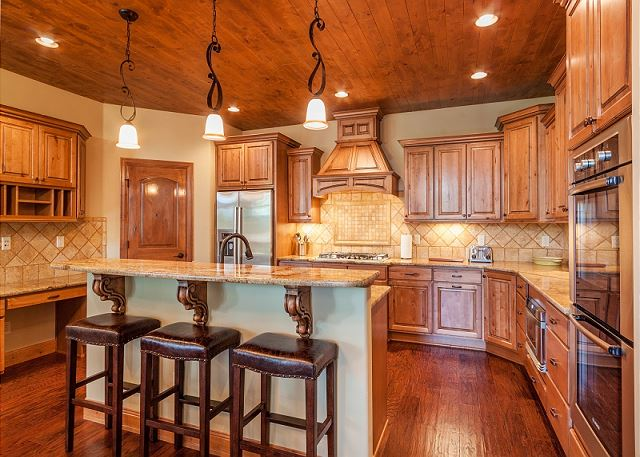 Kitchen with double wall oven