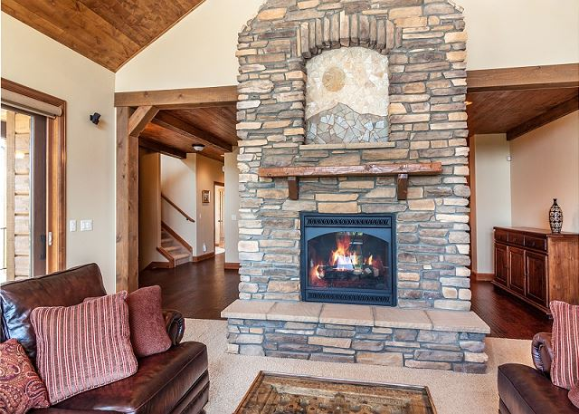Warm and inviting fireplace