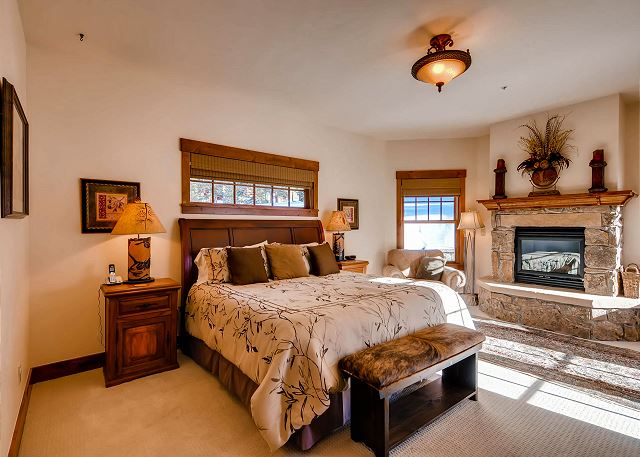 with King Bed, gas fireplace, TV and ensuite bath