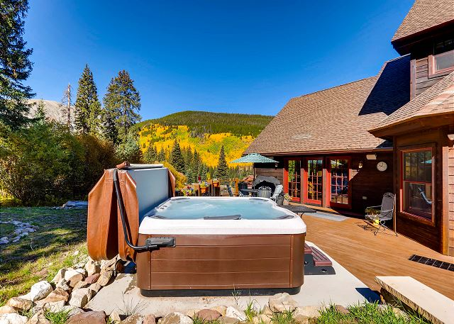 in the privacy of mountain ambiance with your personal hot tub!