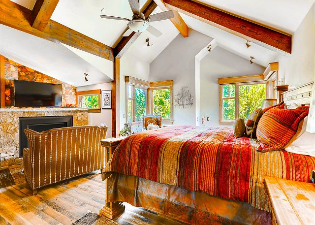 - sleeps 2 in one king bed, features TV, fireplace and large walk-in closet