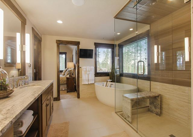 ensuite bath with freestanding soaking tub and separate steam shower
