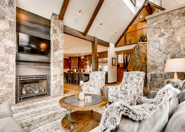 with gas fireplace, TV and the coziest of seating options