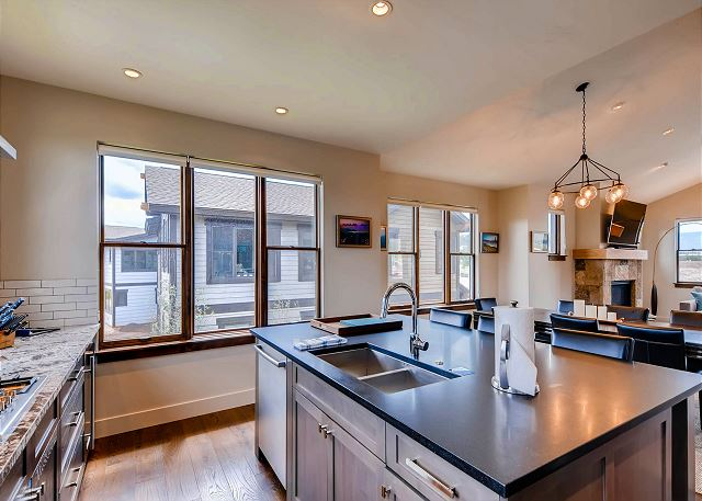 Kitchen Island features seating for three