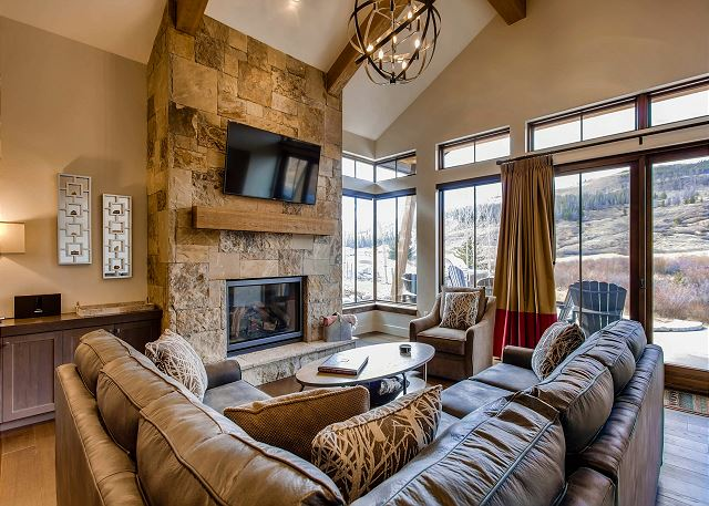 Living room overlooking the river