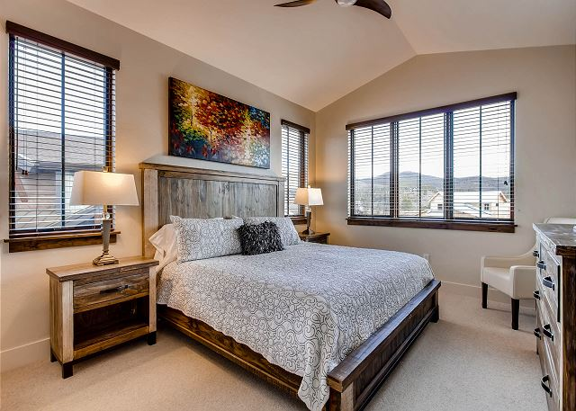 - Sleeps 2 in one king bed, shares adjacent hall bath with den