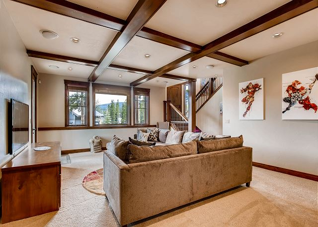 Lower level den with comfy large sectional sofa