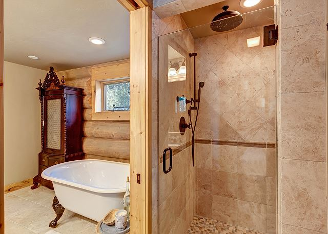with soaking tub and separate shower