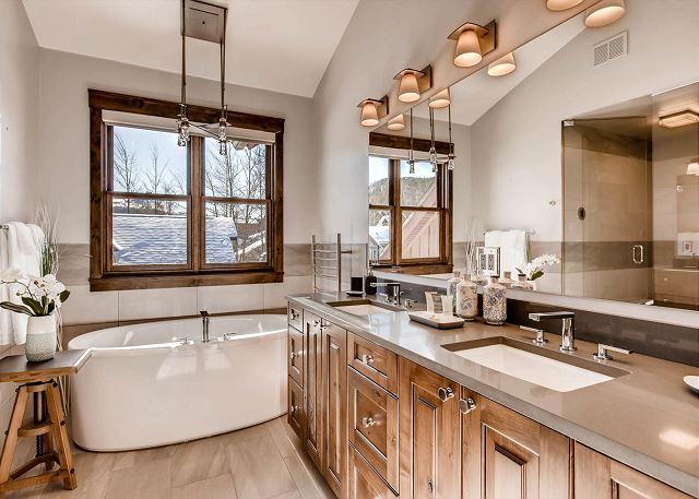 soaking tub and dual sinks