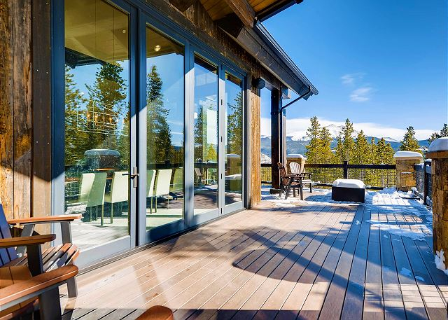 Upper deck off the dining room. Enjoy the wall of windows which open to bring in the fresh mountain air