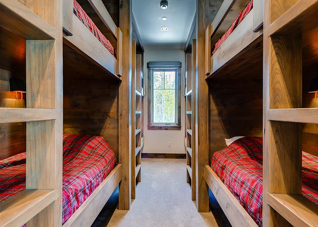 - Sleeps 8 in four twin over twin bunk beds
