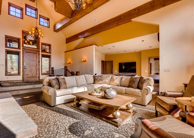 Sunny and welcoming great room with gas fireplace