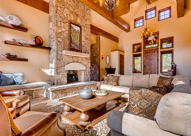 Bright and open great room with plenty of cozy seating for all