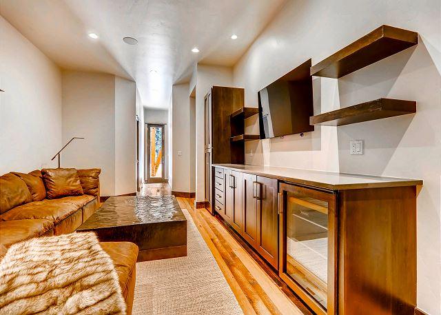 Smart TV and wine fridge