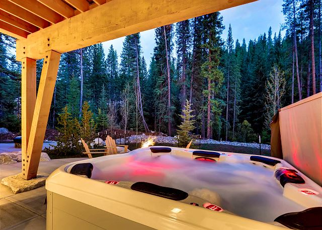 of the Blue River just beyond the warmth of your private hot tub