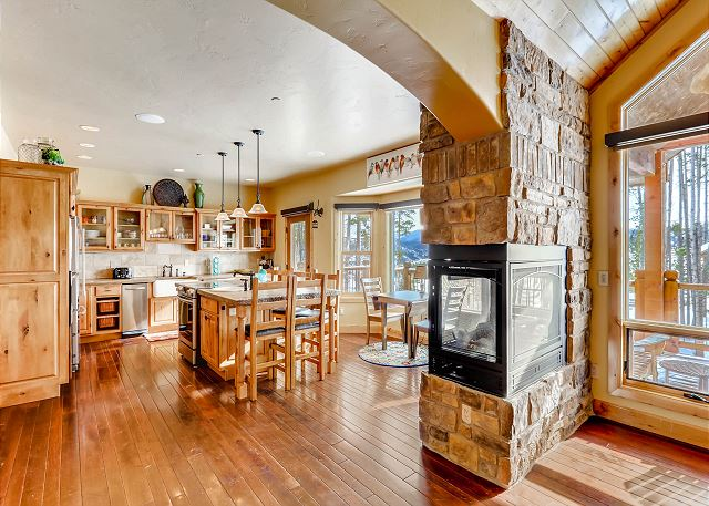 offers radiant heat and warm lighting to both the kitchen and living area