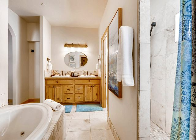 ensuite walk-in shower and jetted tub