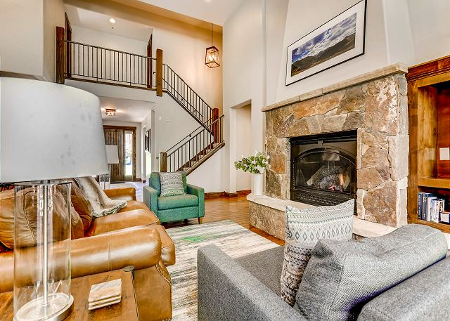 Living area features fireplace