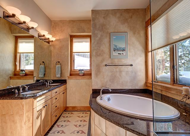 bath with oversized soaking tub, dual sinks and standing shower