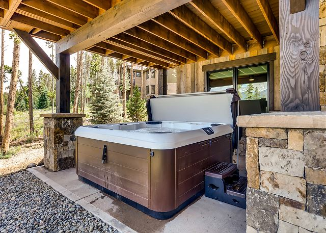 in the private hot tub