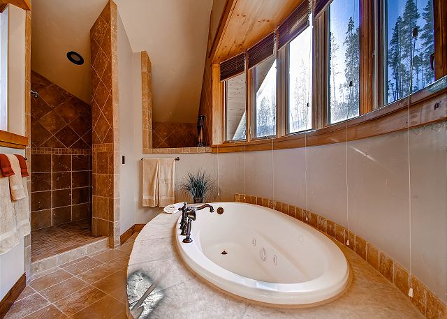 with large soaking tub and separate walk-in shower
