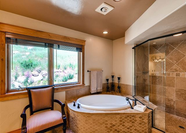 with jetted tub and separate walk-in shower