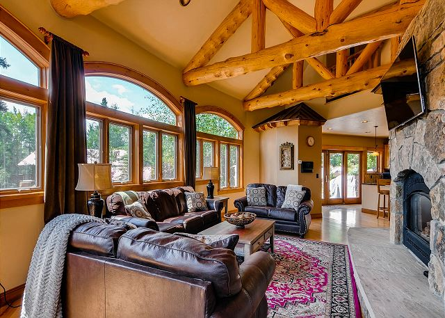 Great Room with gas fireplace and TV