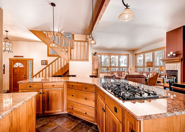 Kitchen features gas cooktop