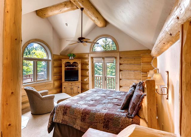 sleeps 2 in one king bed, includes private deck access, gas fireplace and TV with cable options