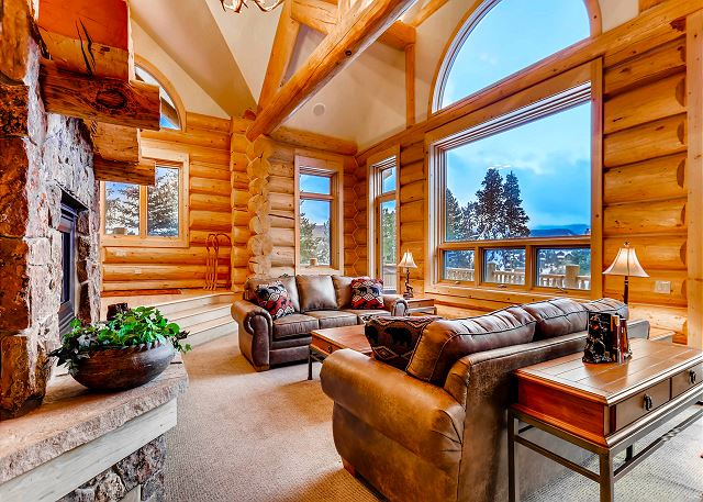 by fireside with mountain views