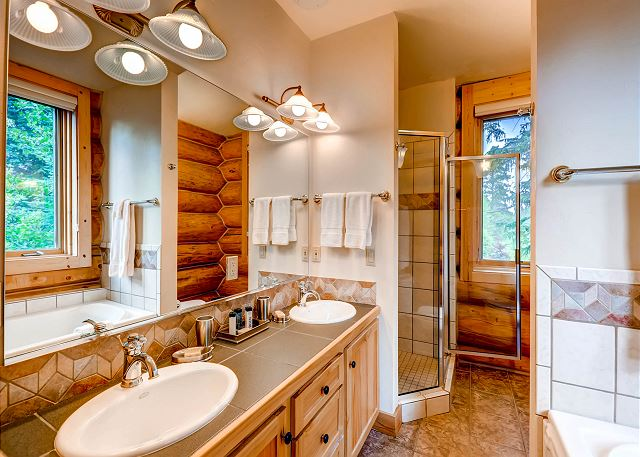 Pines Suite Ensuite Bath with Two Sinks, Bathtub and Walk-in Shower