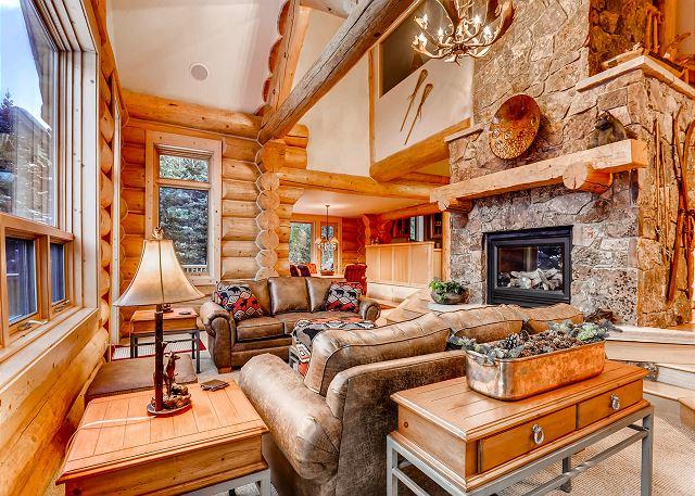 A custom-built log home with ski-in/ski-out access on 4 O'Clock Run
