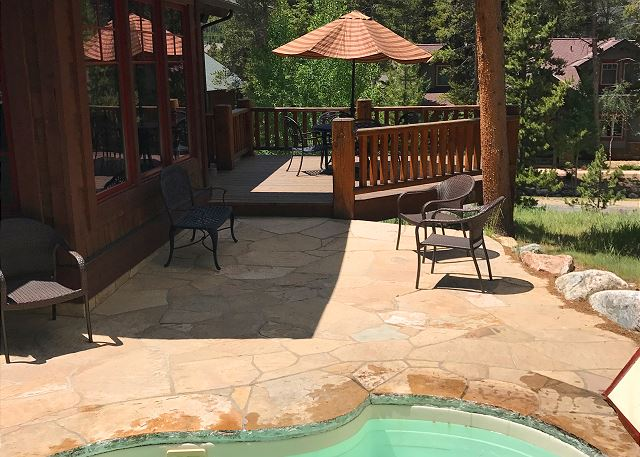 Private Patio with in-ground hot tub
