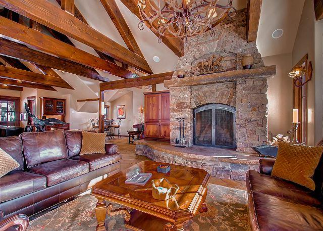 with large wood burning fireplace